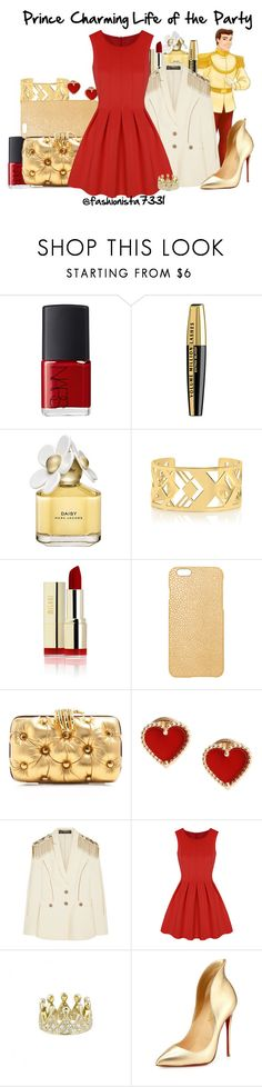 """Prince Charming Life of the Party"" by fashionista7331 ❤ liked on Polyvore featuring NARS Cosmetics, L'Oréal Paris, Marc Jacobs, Tory Burch, Maison Takuya, Benedetta Bruzziches, Van Cleef & Arpels, Versace and Christian Louboutin"