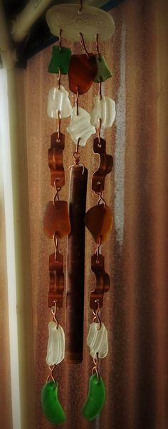 Copper and sea glass windchime