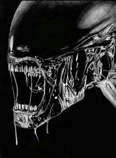 """""""Alien painting I did with gouache. Sized Din Had some reference- a photography showing an alien modell. So the coloration is mainly done by me. Finished with airbrush."""" *huge fan of alien* (-) Aliens Movie, Aliens And Ufos, Alien Vs Predator, Alien Tattoo Xenomorph, Predator Tattoo, Alien Painting, Hr Giger Art, My Little Pony, Giger Alien"""