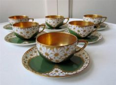 6 Gilt Enamel Rosenthal Art Deco Cabinet Cups Saucers 1924 Finest Quality