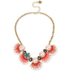 Betsey Johnson Gold-Tone Imitation Pearl and Seashell Statement... ($75) ❤ liked on Polyvore featuring jewelry, necklaces, gold, gold tone collar necklace, betsey johnson necklace, imitation pearl necklace, seashell jewelry and shell jewelry