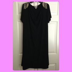 {Avenue} Black Beaded Shoulder Dress Black beaded shoulder dress in excellent used condition! Worn maybe twice. Hits below knees on my mom who is 5'2. 💗 measurements are: approximately 39 inches long and bust approximately 25.5 inches laying flat. Tagged size is 26/28 which is equivalent to a 4X! Avenue Dresses Midi