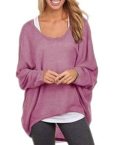 Plus Size Blusas Femininas  Spring Women Blouse Brand New Fashion Long Sleeve Casual Loose Solid Shirts Sexy Tops 9 Colors - Purple, XXL What a beautiful image Visit us