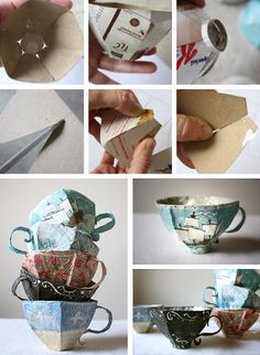 Paper Mache Teacups: Don't throw away your cardboard boxes from your pantry or cabinets!! Reuse cereal boxes or snack boxes to make pretty paper maché teacups! So cute!