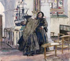 """n Simon (1861-1945), """"Deux Bretonnes près de l'ex-voto dans la chapelle"""". Aquarelle gouachée, signée en bas à gauche."""
