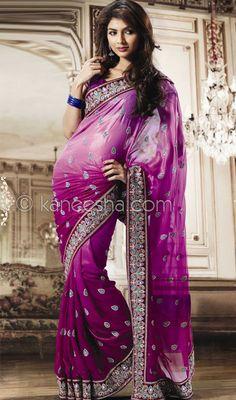 Purple Patterned Sari