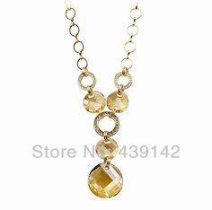 Crystal Long Sweatre Fashion Gold Necklace for Women DC3093 $14.00