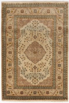 Hand made Indo-Tabriz rug. Hand Knotted Rugs, Woven Rug, Rug Texture, Classic Rugs, Indian Rugs, Patterned Carpet, Grey Carpet, Sheepskin Rug, Weaving Art