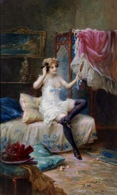 Victorian Paintings, European Paintings, Classic Paintings, Victorian Art, Romantic Paintings, Victorian Ladies, Oil Painting Pictures, Oil Painting On Canvas, Painting & Drawing