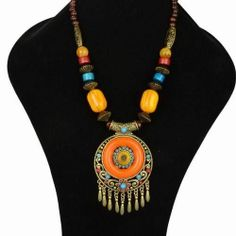 Multicolor Wood Bohemia Copper Floral Tassel Chunky Necklace Bib Pendant YA172K