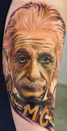 einstein by Nikko Hurtado - Tattoo done at the Hell City Tattoo Festival Nikko Hurtado, Off The Map Tattoo, Tattoo You, Photo Realism Tattoo, City Tattoo, Unique Tattoos, Awesome Tattoos, Nerdy Tattoos, Scary Art