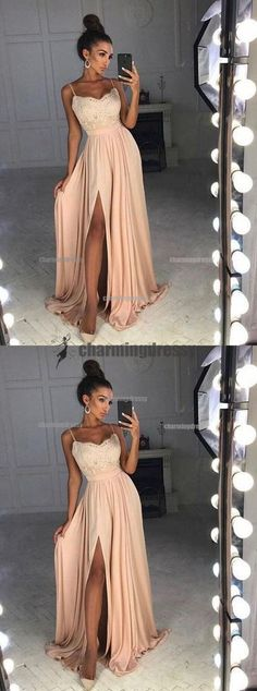 Spaghetti Straps Simple Popular Lace Top Side Split Prom Dresses, Evening Dresses, PD0485