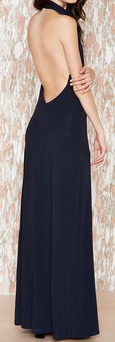 Navy Backless Maxi Dress