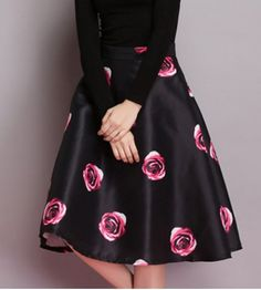 Vintage High Waist Printed Ball Gown Skirt For Women