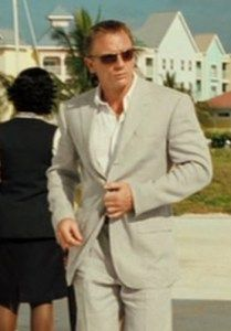 202a87c2c424 Affordable alternatives for the peak lapel linen Casino Royale grey suit  James Bond wears when he arrives in the Bahamas.