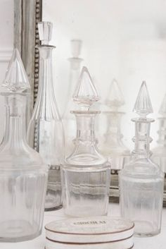 Old glass decanter display
