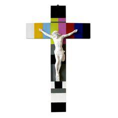 Stefan Strumbel, TESTBILD KRUZIFIX 2011 original crucifix treated with spray paint and acrylic, 55 x 32 x 7 cm