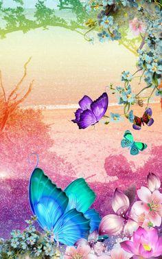By Artist Unknown. Butterfly Artwork, Butterfly Pictures, Butterfly Wallpaper, Paper Butterflies, Love Wallpaper, Beautiful Butterflies, Wallpaper Backgrounds, Cellphone Wallpaper, Iphone Wallpaper