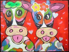 Vrolijke verliefde Koeien 80 x 60 cm