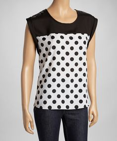 Take a look at this Black & White Polka Dot Top by Adrienne on #zulily today!