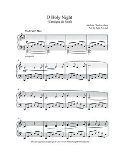 O Holy Night, a beautiful intermediate level Christmas Carol, free to print or save as digital music on your iPad.
