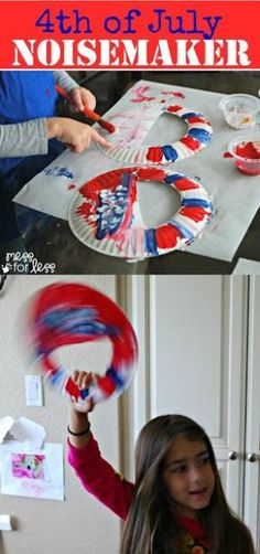 4th of July Crafts - Use some plates and paint to make a simple noisemaker for kids!