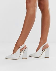 Buy Be Mine Bridal Noori ivory satin sling back heeled shoes at ASOS. Get the latest trends with ASOS now. Ivory Shoes, Satin Shoes, White Shoes, Wide Fit Wedding Shoes, Wedding Shoes Heels, Strappy Sandals, Block Heels, Fashion Online, Fashion Shoes