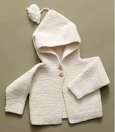 """Free Knitting Pattern: Tied Hoodie """"Nancy A. finished an off-white garter stitch hoodie with brown teddy bear buttons. Baby Sweater Knitting Pattern, Knit Baby Sweaters, Knitted Baby Clothes, Hoodie Pattern, Boys Sweaters, Toddler Sweater, Baby Knits, Cardigan Pattern, Knitting For Kids"""