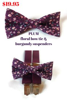 $19.95 Set of bow tie and suspenders 20% off with code PINTEREST20OFF Ring bearer set for plum and burgundy wedding Ring bearers outfits burgundy Ring bearers outfits suspenders Fall ring bearer outfit Toddler wedding outfit For groomsmen set Groom bow tie and suspenders