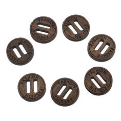 ZARABE 50PCs Brown Round 'Fashion' Engraved 2 Long Holes Wooden Buttons Scrapbooking >>> To view further for this item, visit the image link.