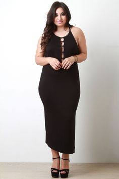 c3fea40338 Cut Out Caged Sleeveless Maxi Dress Plus Size Dresses