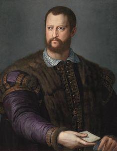 Bronzino (Agnolo di Cosimo, dit), Portrait de Cosme Ier de Médicis à l'âge de quarante ans, 1560, huile sur bois, 82,5 × 62 cm. © The Alana Collection, Newark, Delaware, USA. 1539 - 1574. Le faste des portraits, les Médicis