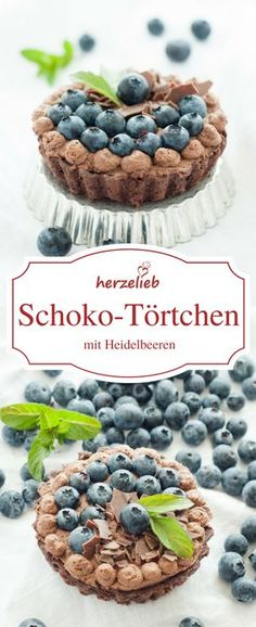 Schokolade Rezepte - Kuchen Rezepte: Leckeres Schokoladen Törtchen mit Heidelbeeren von herzelieb