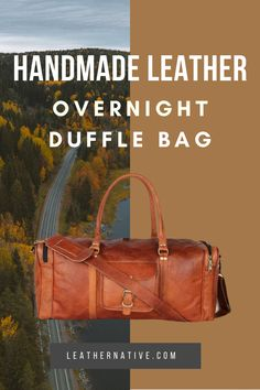 The Handmade Leather Overnight Duffle Bag helps you travel in comfort and style. This excellent overnight bag easy to pack, easy to move, and will only look more attractive with time and use Small Leather Bag, Thick Leather, How To Make Leather, Leather Bags Handmade, Simple Bags, Nylon Bag, Travel Bags, Easy, Style