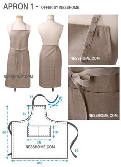 New Sewing Dress Patterns Crafts 48 Ideas Sewing Aprons, Dress Sewing Patterns, Clothing Patterns, Sewing Hacks, Sewing Tutorials, Leather Apron, Apron Designs, Linen Apron, Apron Dress