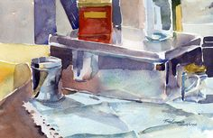 """""""Studio Objects with Turquoise Cloth"""" – watercolor still life painting"""