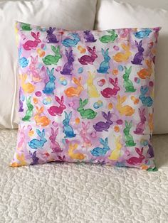 Watercolor Bunnies - Pillow Cover - Easter - Swappillow Covers - Gift - Envelope Closure - Decorative Pillow Cover - 16x16 - Spring by KathyRyanDesigns on Etsy