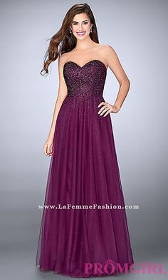 Long Ball Gown Style Prom Dress by La Femme at PromGirl.com