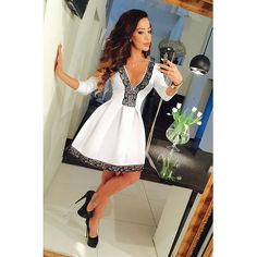 European Style Solid Sexy Women Dresses White Black Red Deep V Lace Patchwork Basic Dress For Party Dating Hot Sale S145138