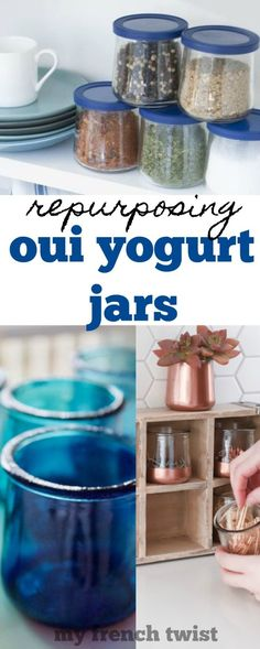 I'm talking about Oui french yogurt jars and all the ways they can be repurposed. Crafts For Kids, Diy Crafts, Recycle Crafts, Upcycle, Craft Tutorials, Craft Projects, I Spy Diy, Clean Pots, Dessert Cups