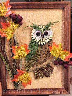 sova Leaf Crafts, Owl Crafts, Diy And Crafts, Crafts For Kids, Autumn Crafts, Autumn Art, Nature Crafts, Art Drawings For Kids, Art For Kids