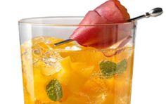 Chandon Luscious Peach  Ingredients    2½ oz Chandon Extra-Dry Riche  ¼ cup of fresh peach  ½ oz simple syrup (or pomegranate syrup)  5-7 mint leaves (for a little spice, add 2 grinds  of fresh pepper instead of mint)    Instructions    Muddle the peach with the syrup and the mint or pepper in a cocktail shaker. Shake with ice and strain into a glass filled with ice. Top with Chandon Extra-Dry Riche and stir. Garnish with a peach wedge or a sprig of mint.