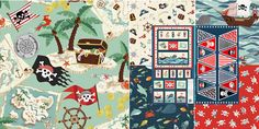 Makower Pirates by Henley Studio -  Little boys love Pirates and this striking collection of designs is perfect for bedrooms, accessories or clothing.