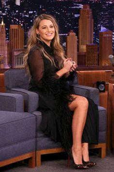 Blake Lively Tells Jimmy Fallon That He's Her Daughter James' Beyonce - Watch Here!: Photo Blake Lively gave Jimmy Fallon some pretty adorable news about her oldest daughter while stopping by The Tonight Show on Wednesday night (January The Blake Lively Outfits, Blake Lively Style, Blake Lively Dress, Jimmy Fallon, Celebrity Photos, Celebrity Style, Celebrity Women, Three Daughters, Tonight Show
