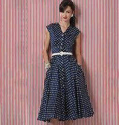 V8577 Close-fitting, lined, flared dress with darts, front and back gathers, side front pockets with pocket bands and button front closing. For batiste, gingham, washed silk, lightweight linen