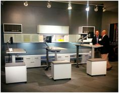 Here are some good looking adjustable height workstations from #Mayline at #NeoCon14! #neoconography