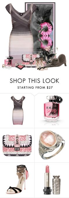 """Sans titre #391"" by frane-x ❤ liked on Polyvore featuring Hervé Léger, Victoria's Secret, Valentino, Sophia Webster, Anna Sui and MAKE UP STORE"