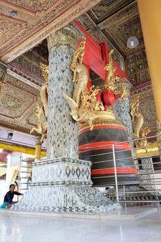 real Jade covered columns, at the Shwedagon Pagoda - Yangon, Myanmar