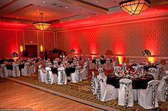 Uplighting can warm up a room. Red Light Green Light, Mood Light, Light Up, Red Wedding, Wedding Tips, Wedding Reception, Wedding Stuff, Light Decorations, Wedding Decorations