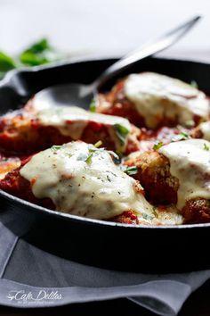 One Pan Mozzarella Stuffed Chicken Parmesan   https://cafedelites.com